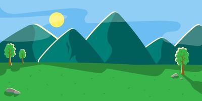 Mountain landscape with green hills. Vector background