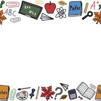 Back to school doodle colorful vector frame