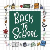 Back to school doodle colorful vector square frame clipart