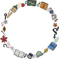 Back to school doodle colorful vector round frame