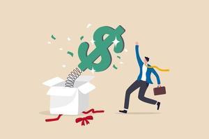 dinero sorpresa o recompensa, bonificación o aumento de salario, beneficio de inversión vector