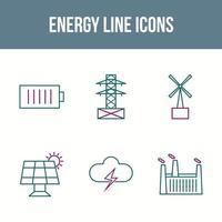 Energy Line Vector Icon Set