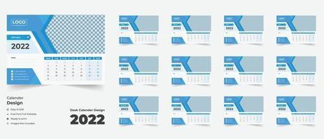 2022 desk calendar with blue layout, Blue desk calendar 2022, vector