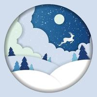 Winter landscape paper cut deer and pine trees in the snow. vector
