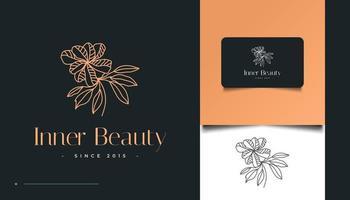 logotipo de flor minimalista dibujado a mano en estilo de arte lineal vector