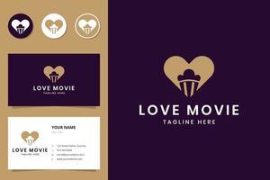 love movie negative space logo design vector
