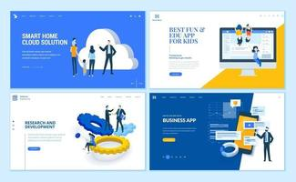 Set of flat design web page templates vector