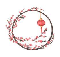 Traditional Chinese Round Frame. Lantern and sakura tree. vector