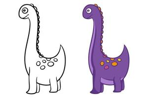Dinosaur. Black and white vector illustration for coloring.