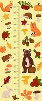 Kids height chart with forest animals. Childish meter wall for design. vector