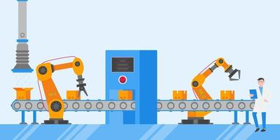 Smart industry 4.0 and technology assembly line flat style design vector