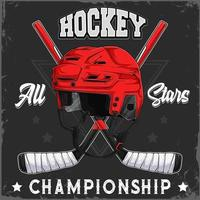Ice Hockey helmet and crossed sticks with all stars championship text vector