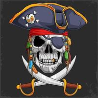 Scary human Skull head in pirate hat with two crossed swords vector
