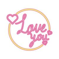love you lettering in frame circular isolated icon vector