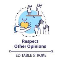 respetar otras opiniones concepto icono vector