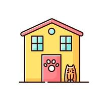 Animal shelter exterior sign yellow RGB color icon vector