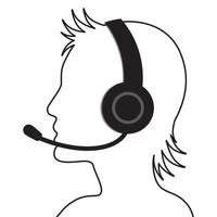Human head of call center operator with headset vector