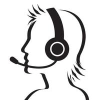 Profile portrait of call center operator with headset vector