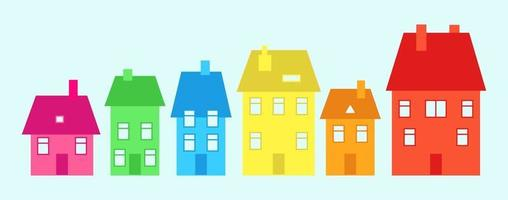 Colorful Quirky Little Village Neighborhood Residence vector