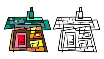 Abstract Country Village Cottage Doodle vector