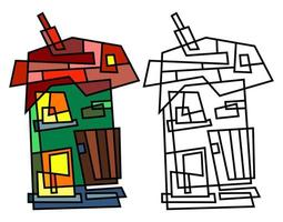 Abstract Country Village Cottage Geometric Doodle vector