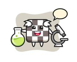 Mascot character of chess board as a scientist vector