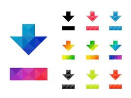 Set of colorful arrow down pointer or download icon vector
