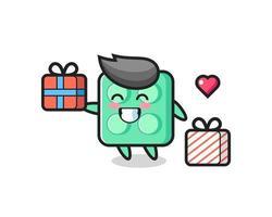 brick toy mascot cartoon giving the gift vector