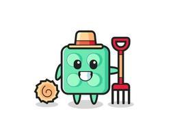 Mascot character of brick toy as a farmer vector