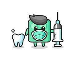 Mascot character of brick toy as a dentist vector