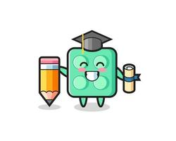 brick toy illustration cartoon is graduation with a giant pencil vector