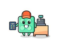Illustration of brick toy character as a cashier vector