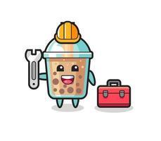 Mascot cartoon of bubble tea as a mechanic vector