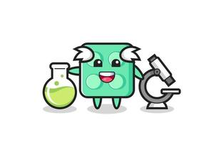 Mascot character of brick toy as a scientist vector