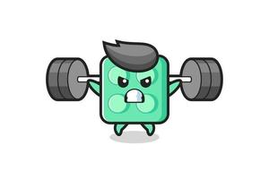 brick toy mascot cartoon with a barbell vector
