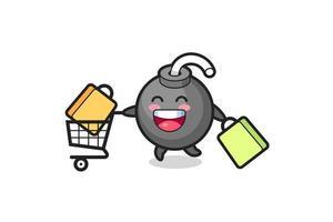 ilustración de viernes negro con linda mascota bomba vector