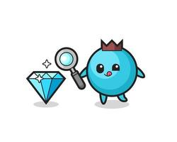 blueberry mascot is checking the authenticity of a diamond vector