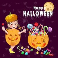 diseños de feliz halloween con caramelos multicolores de niña y calabaza vector