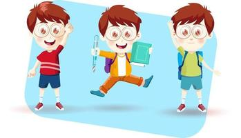 school student boy with different emotions vector illustration