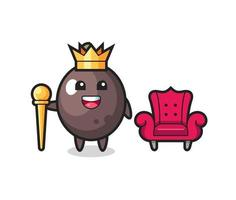 Mascot cartoon of black olive as a king vector