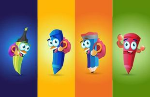 Cool Cartoon pencils mascots with different poses illustrations vector