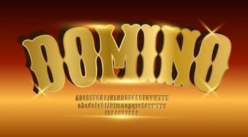 fuente de juego de dominó de alfabeto real de lujo vector