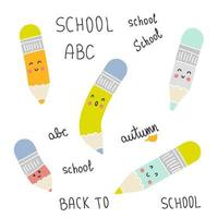Back to school pencils doodle collection. vector
