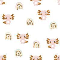 Cartoon style seamless pattern with axolotls ans rainbows vector