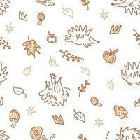 Seamless pattern of hedgehogs and elements in the autumn theme doodles vector