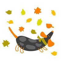 Drawing of a dachshund running through a leaf fall vector