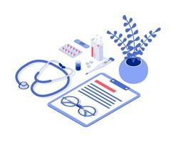 Vector illustration of a doctor. Isometric vector illustration.