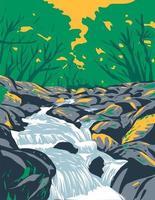 becky falls becka falls en el parque nacional de dartmoor reino unido art deco wpa art vector