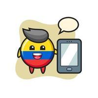 bandera de colombia, ilustración, insignia, caricatura, tenencia, un, smartphone vector