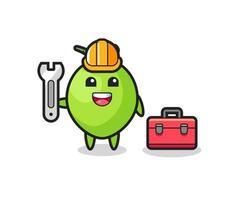 Mascot cartoon of coconut as a mechanic vector